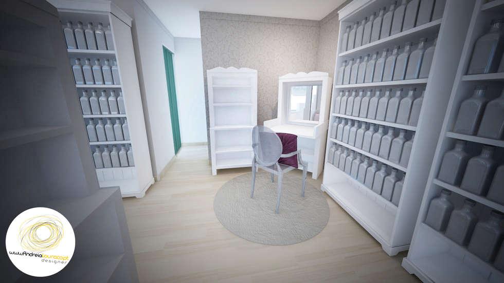 Zona de maquilhagem: Lojas e espaços comerciais  por Andreia Louraço - Designer de Interiores (Contacto: atelier.andreialouraco@gmail.com)