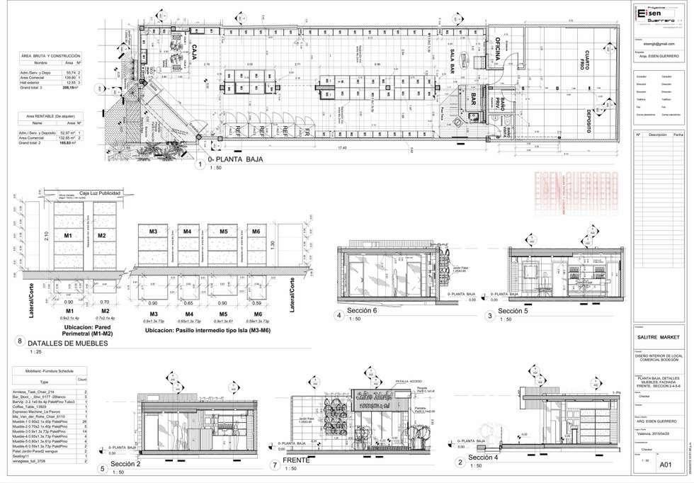 Plano A01 Distribución y Clasificacion del Mobiliario: Bodegas de vino de estilo minimalista por Eisen Arquitecto