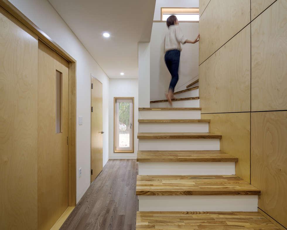 2층으로 올라가는 계단: B.U.S Architecture의  복도 & 현관
