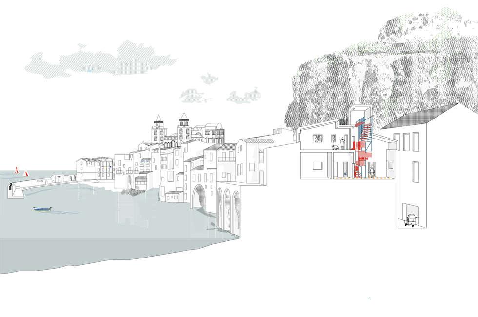 CASA G  Cefalù  Arch Francesco Librizzi - Cementine Esagonali Artigianali Tomasello: Pareti in stile  di TOMASELLO SRL PAVIMENTI D'EPOCA REALIZZATI OGGI