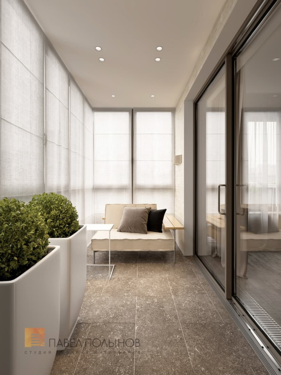 Интерьер лоджии в современном стиле, жк дудернгоф клаб.