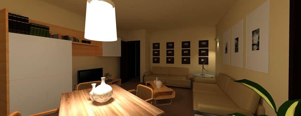 Ristrutturazione - Interior Design - Render: Soggiorno in stile in stile Moderno di Filippo Fiori       Architetto