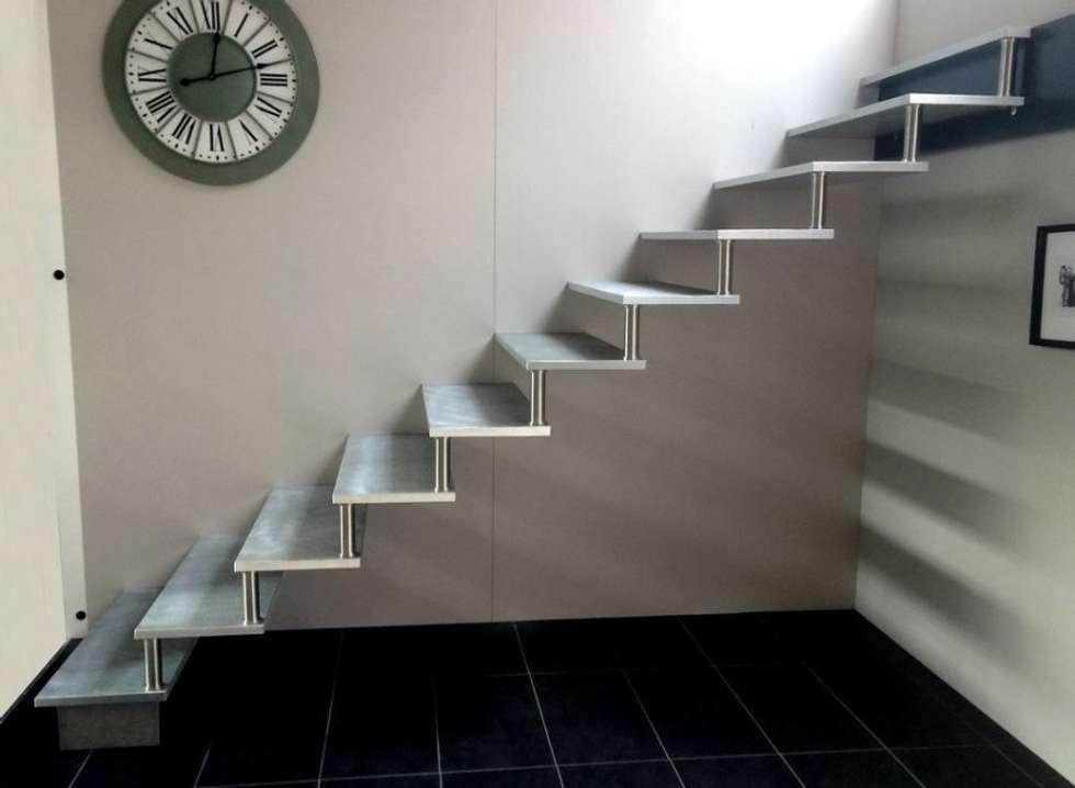 Escalier en aluminium: Couloir et hall d'entrée de style  par Passion Bois