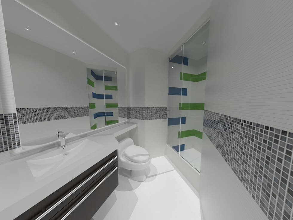 Baño Niños: Baños de estilo minimalista por Vowen
