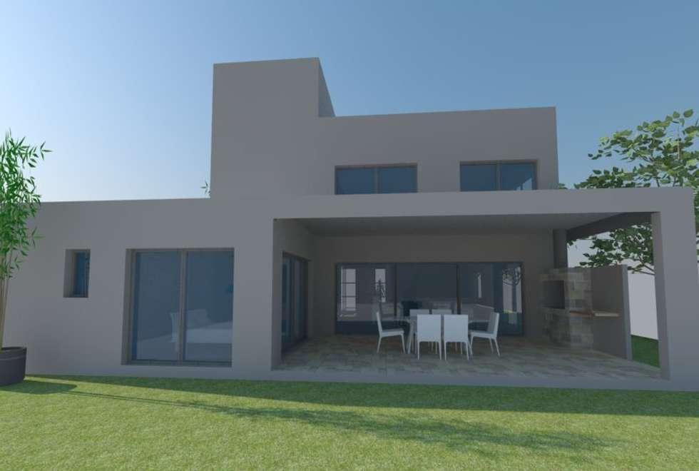 Fachada posterior: Casas de estilo moderno por E+ arquitectura