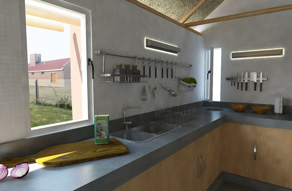 Interior quincho: Cocinas de estilo moderno por Bessone Arquitectos