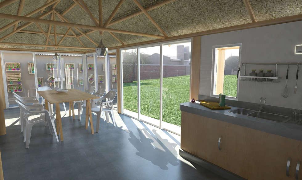 Interior quincho : Comedores de estilo moderno por Bessone Arquitectos