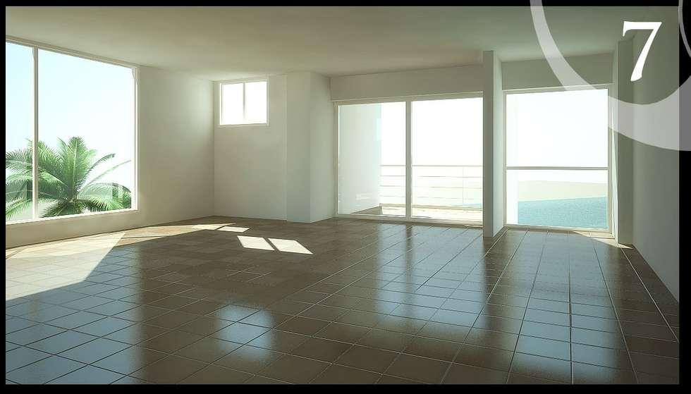 Imagenes 3D (Render) proyecto de Arquitectura: Residencias Cabo Codera.: Salas / recibidores de estilo minimalista por Grupo JOV Arquitectos