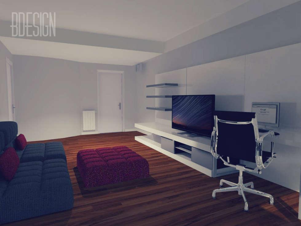 Maqueta digital con distribucion y equipamiento: Livings de estilo minimalista por Estudio BDesign