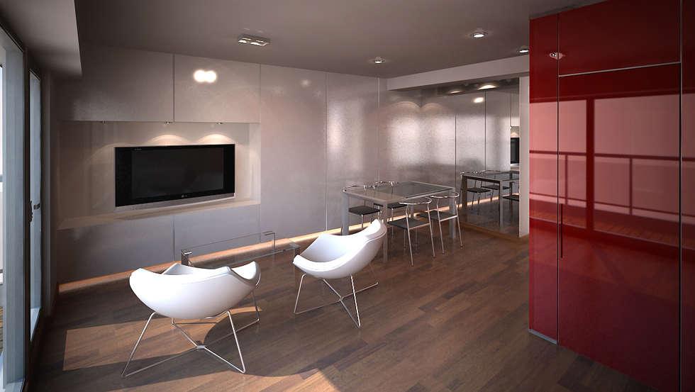 Reforma departamento: Living-comedor: Livings de estilo minimalista por ARQUITECTURA EN IMÁGENES