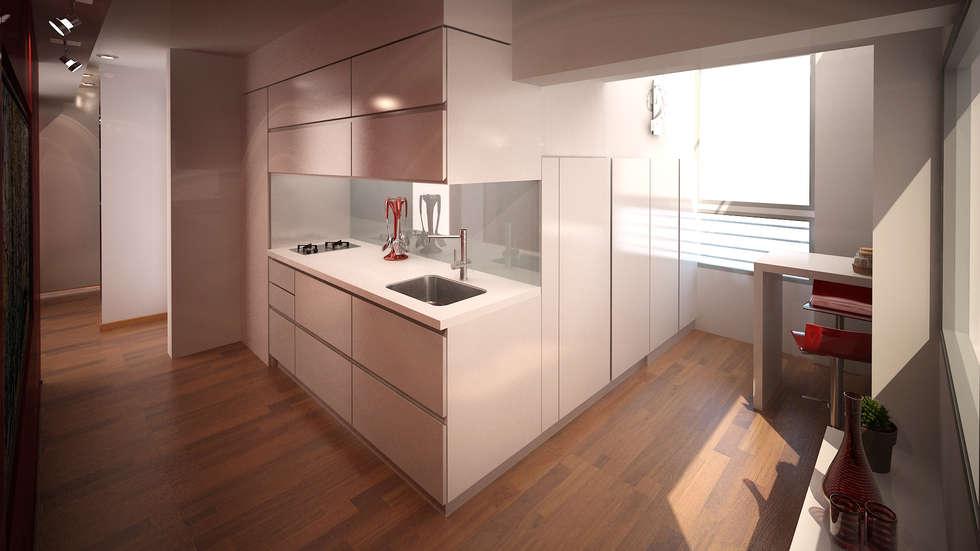 Reforma departamento: Living-comedor: Cocinas de estilo minimalista por ARQUITECTURA EN IMÁGENES