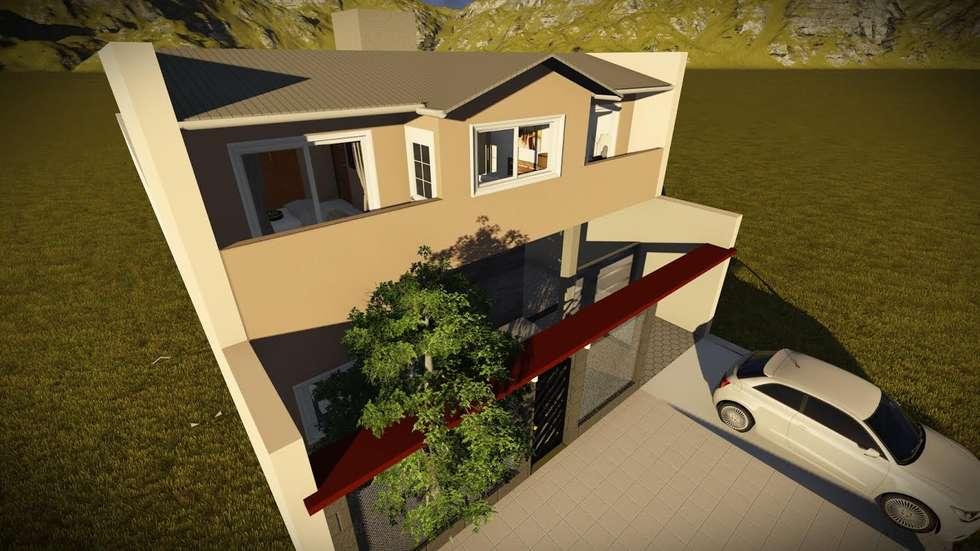 Perspectiva de la Fachada: Casas de estilo clásico por Arq. Diego Barragán
