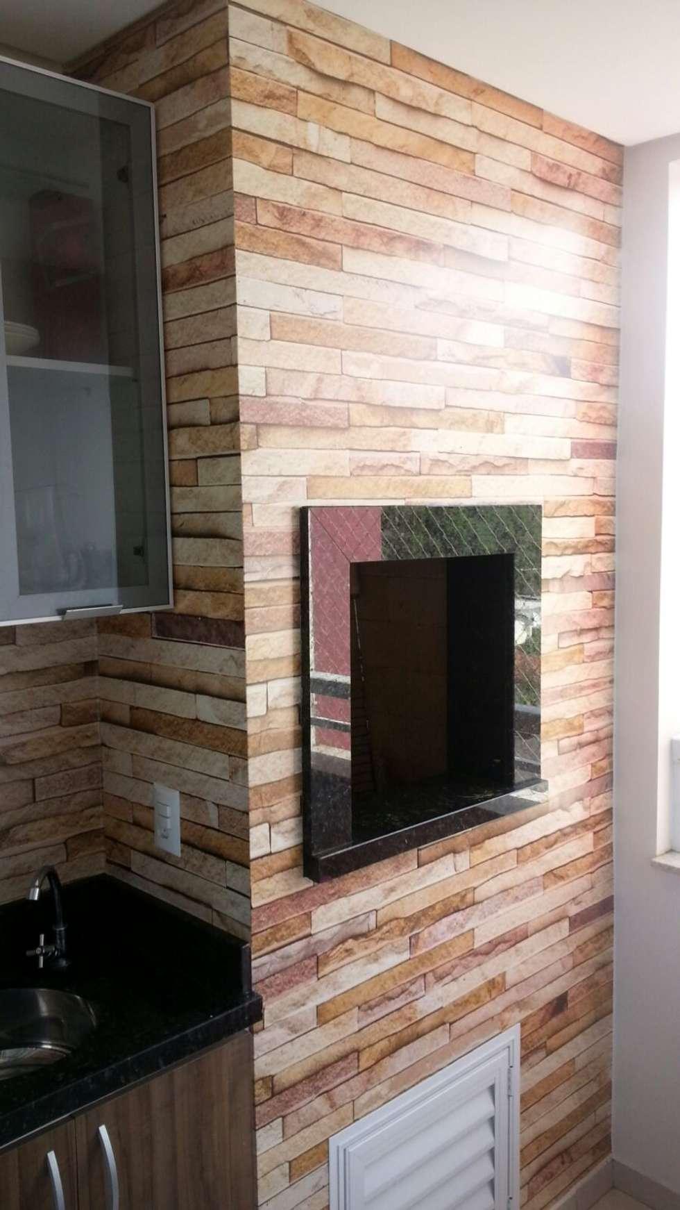 25 Projetos Fant Sticos De Revestimento De Paredes Com Pedras -> Parede Da Sala Com Filetes