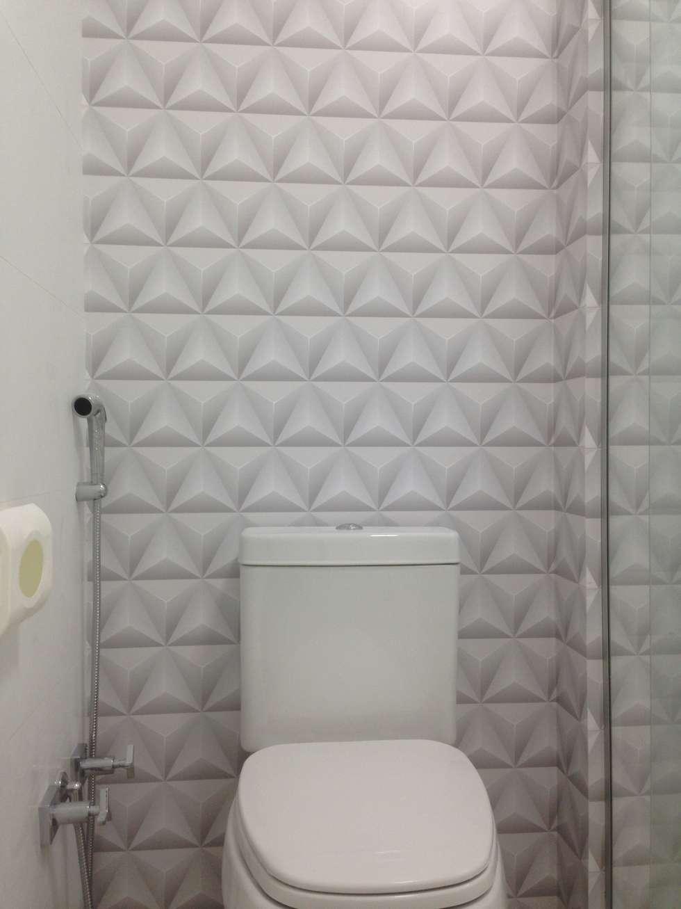 Fotos de banheiro : papel de parede tri?ngulo volumetria homify