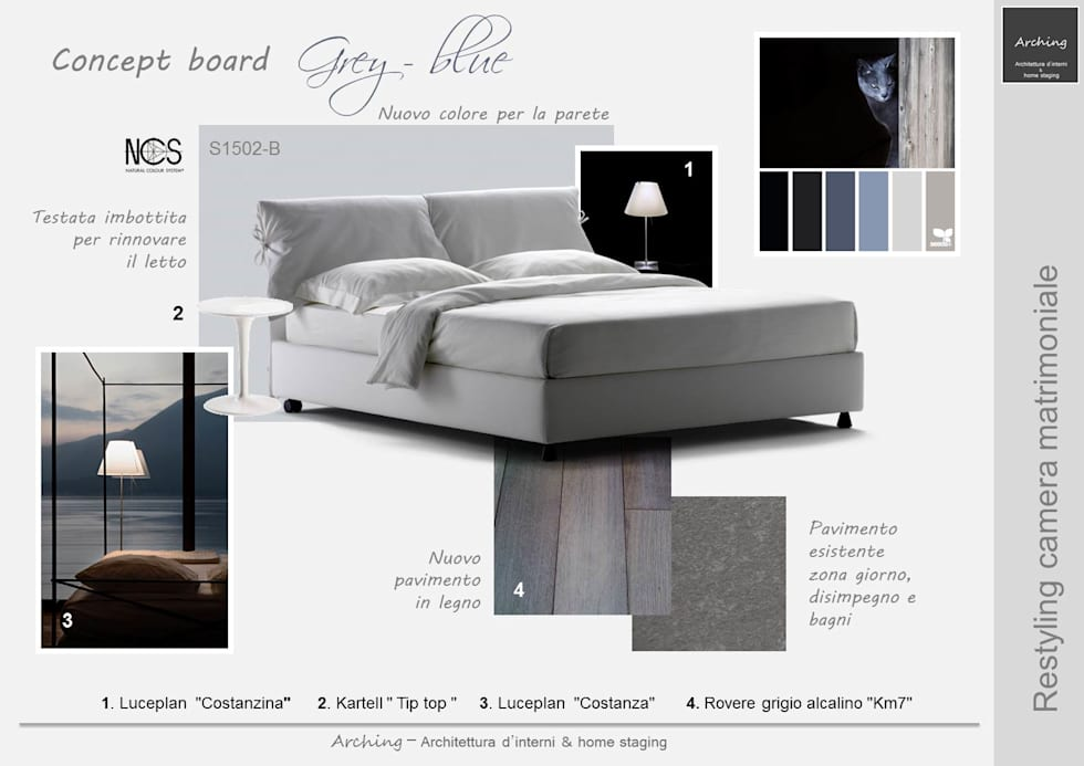 Grey Blue - Restyling zona notte: Camera da letto in stile in stile Moderno di Arching - Architettura d'interni & home staging