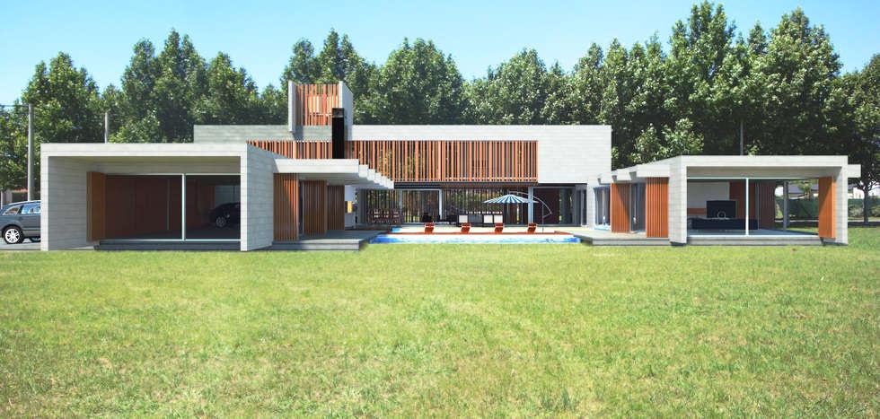 CASA DE HORMIGÓN -  Autores: Mauricio Morra Arq., Diego Figueroa Arq.: Casas de estilo moderno por Mauricio Morra Arquitectos