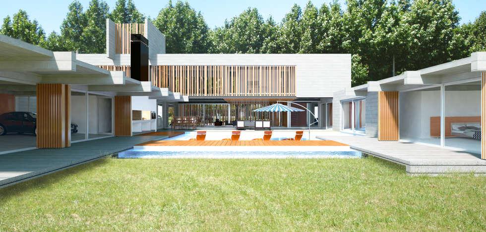 CASA DE HORMIGÓN -  Autores: Mauricio Morra Arq., Diego Figueroa Arq.: Jardines de estilo moderno por Mauricio Morra Arquitectos