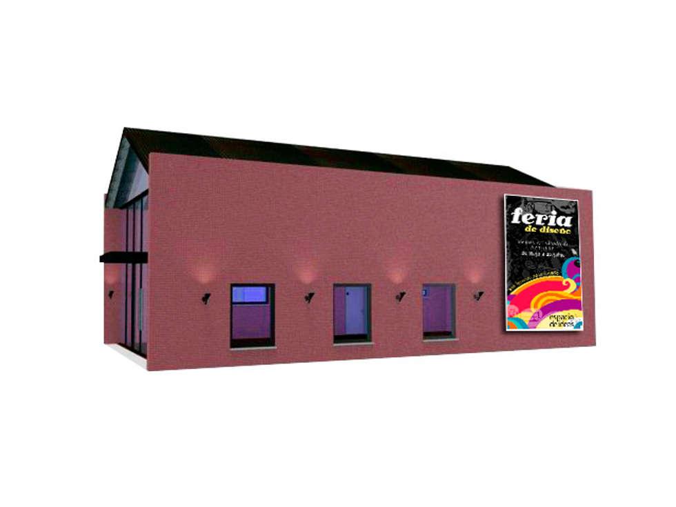 VISTA PEATONAL IZQUIERDO: Salas multimedia de estilo industrial por CubiK