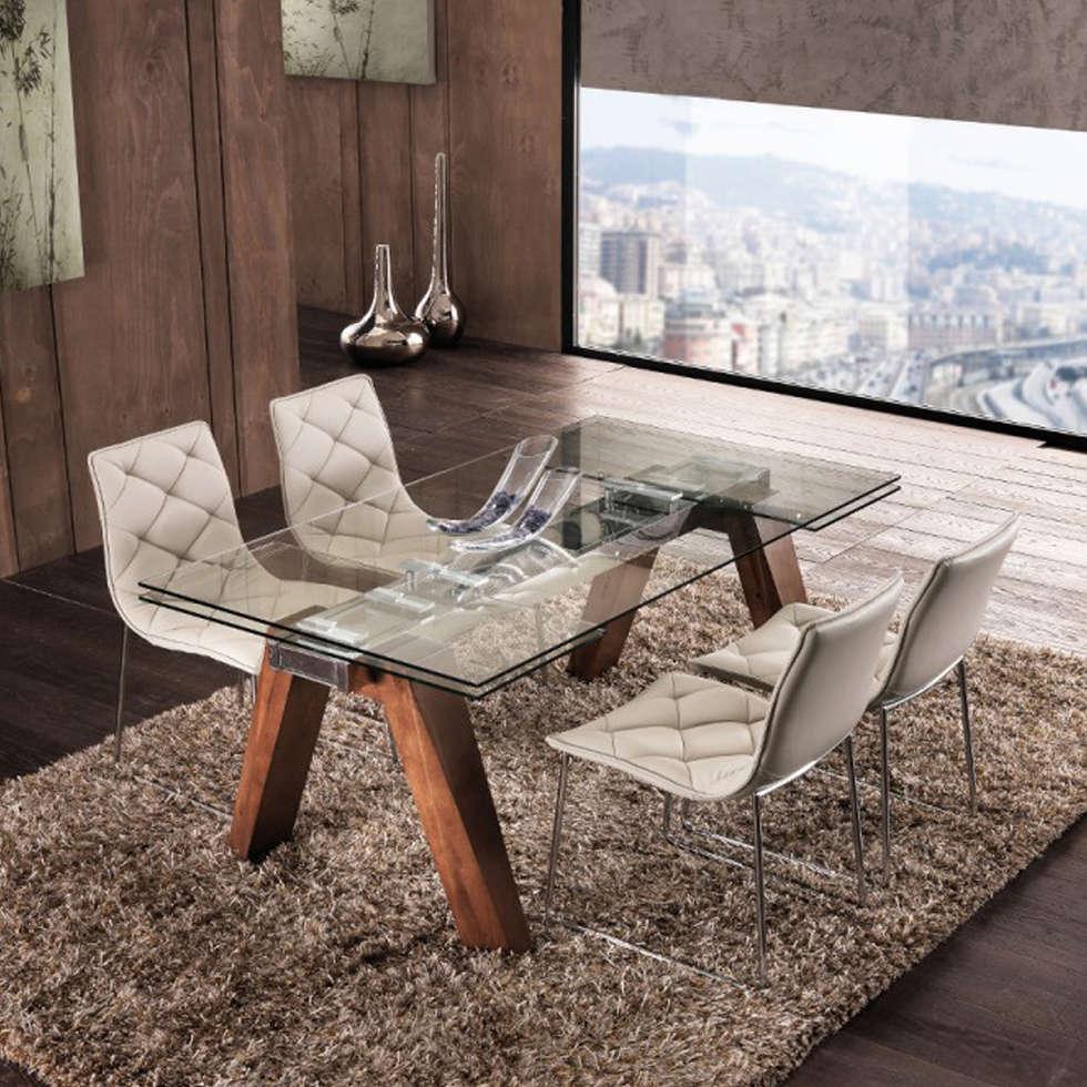Tavolo allungabile in legno massello e vetro temperato chad : sala ...