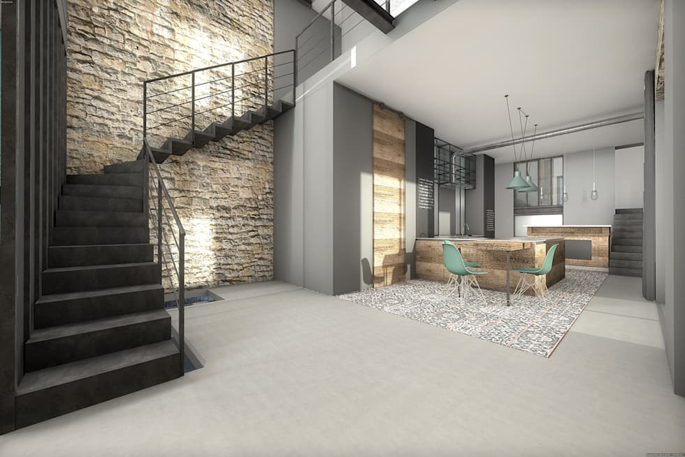 Corps de ferme r habilit salon de style de style moderne - Photo maison renovee avant apres ...