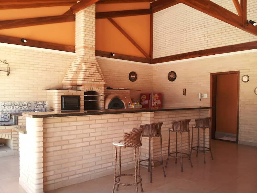 Área de Churrasco : Terraços  por Arquiteto Lucas Lincoln