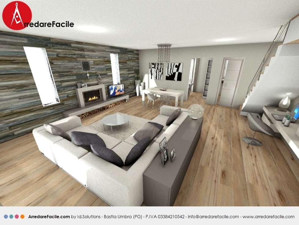 Soggiorno con scala a giorno e camino: Soggiorno in stile in stile Moderno di Arredarefacile by Id.Solutions