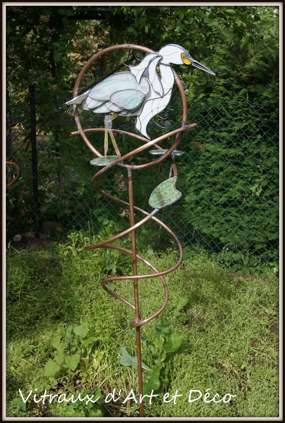 Grue Blanche: Jardin de style de style eclectique par Vitraux d'Art et Déco