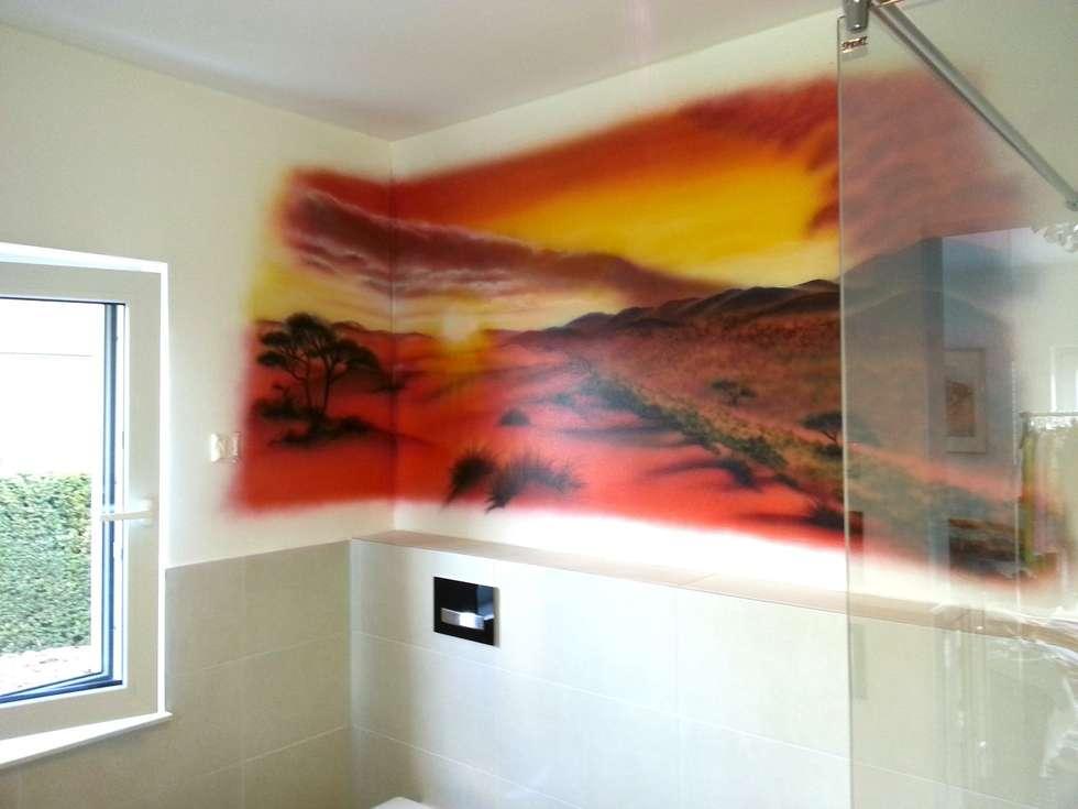 Badezimmer wandgestaltung afrika colors landschaft : ausgefallene ...
