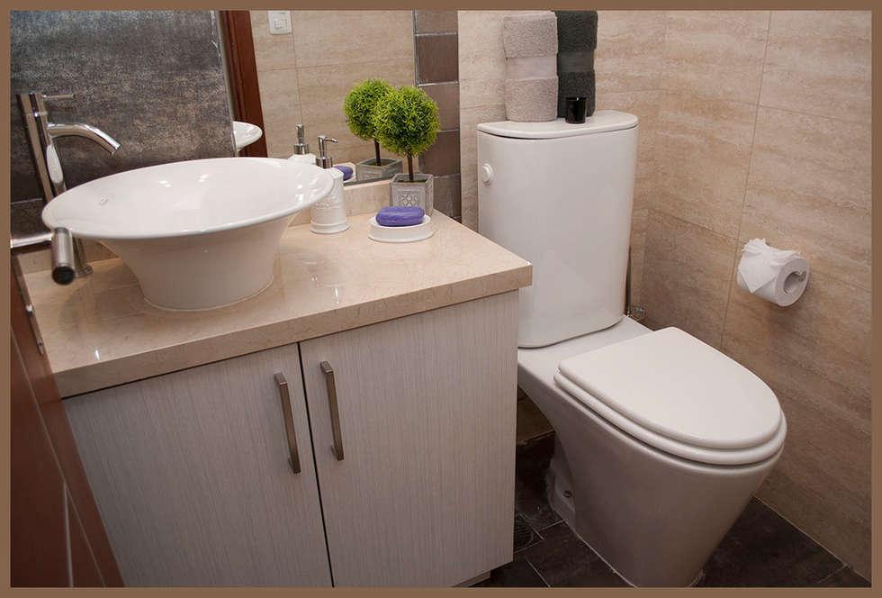 BAÑO SOCIAL: Baños de estilo moderno por Diseñadora Lucia Casanova