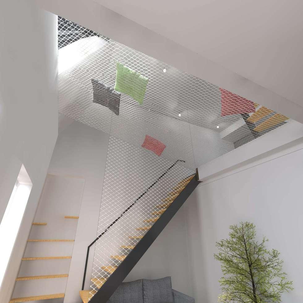 Surélévation partielle d'immeuble en plein cœur de Paris: Salon de style de style eclectique par Hanuman Architecture