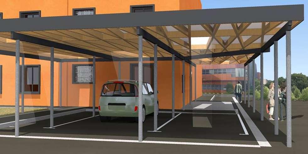 Abris véhicules / Centre Régional de Navigation Aérienne Sud-Ouest / Mérignac 2014: Aéroports de style  par Hanuman Architecture