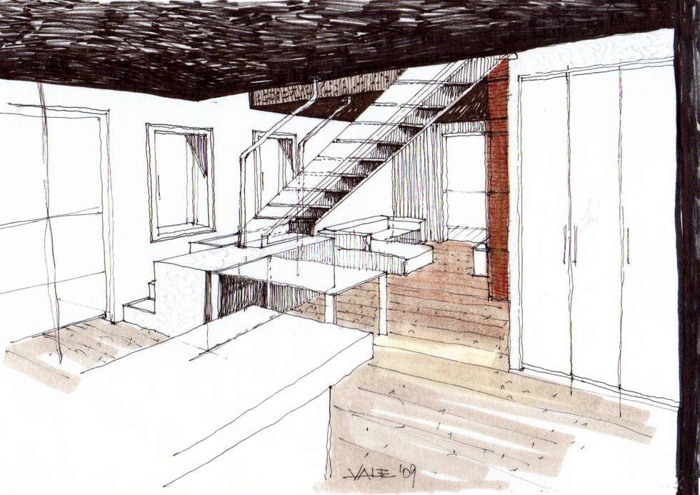 Disegno preparatorio: Sala da pranzo in stile in stile Moderno di VIQUADRO