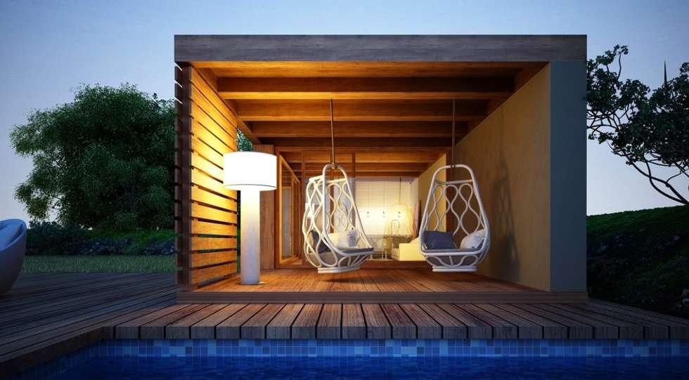 Casa Modular - Alpendre: Habitações  por Maqet