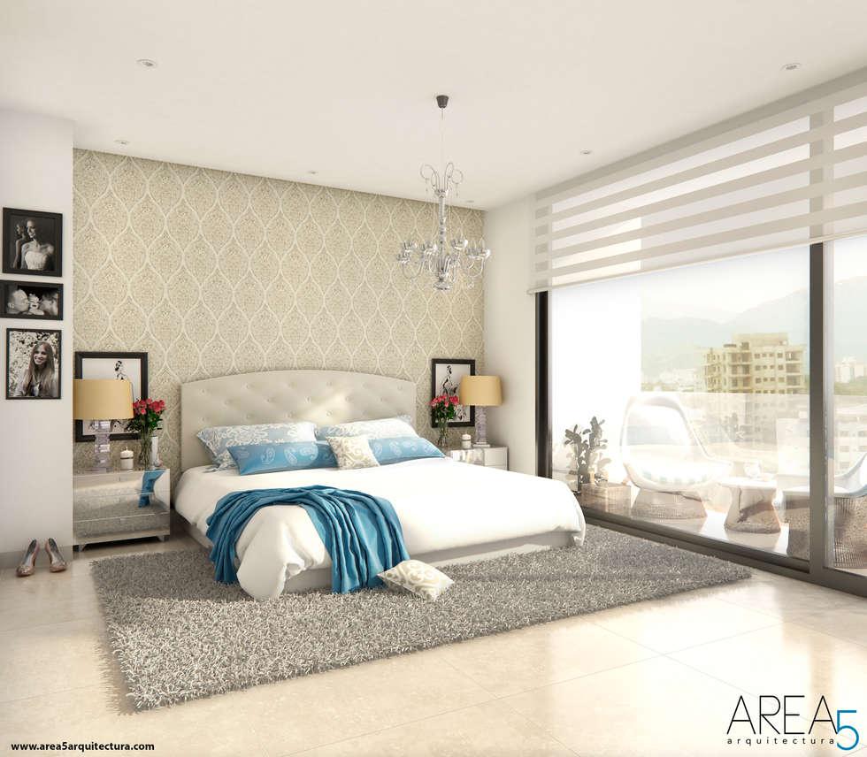 Morano Mare - Alcoba principal: Habitaciones de estilo moderno por Area5 arquitectura SAS