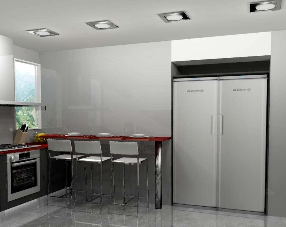 Cocina peque a cocinas de estilo moderno por arce for Mobiliario cocinas pequenas