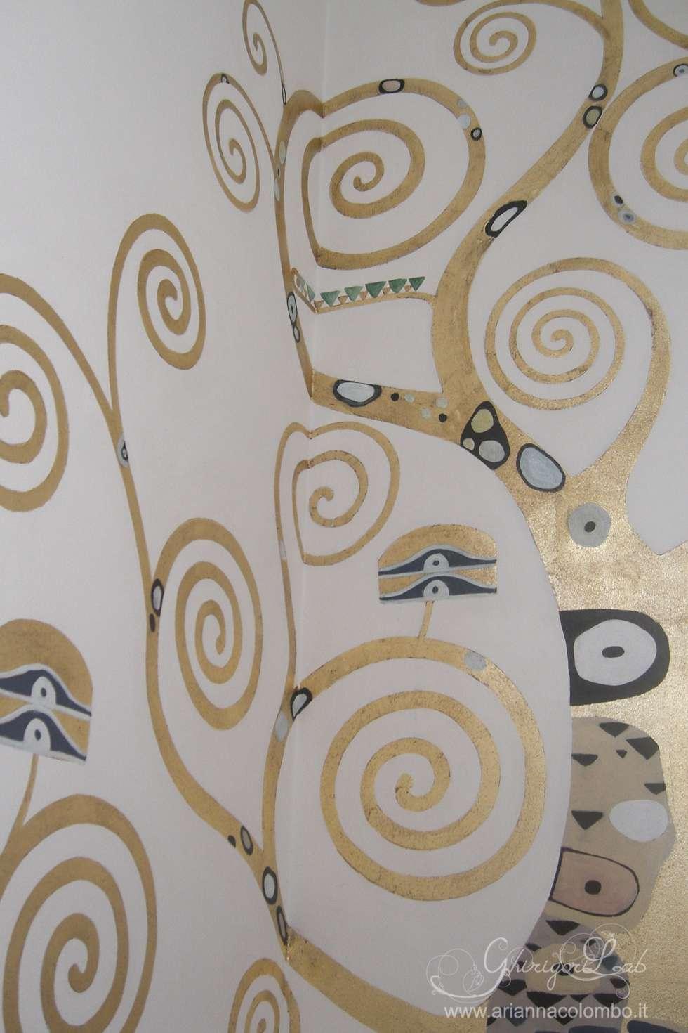 Albero della vita di klimt su parete scala ingresso - Albero su parete ...