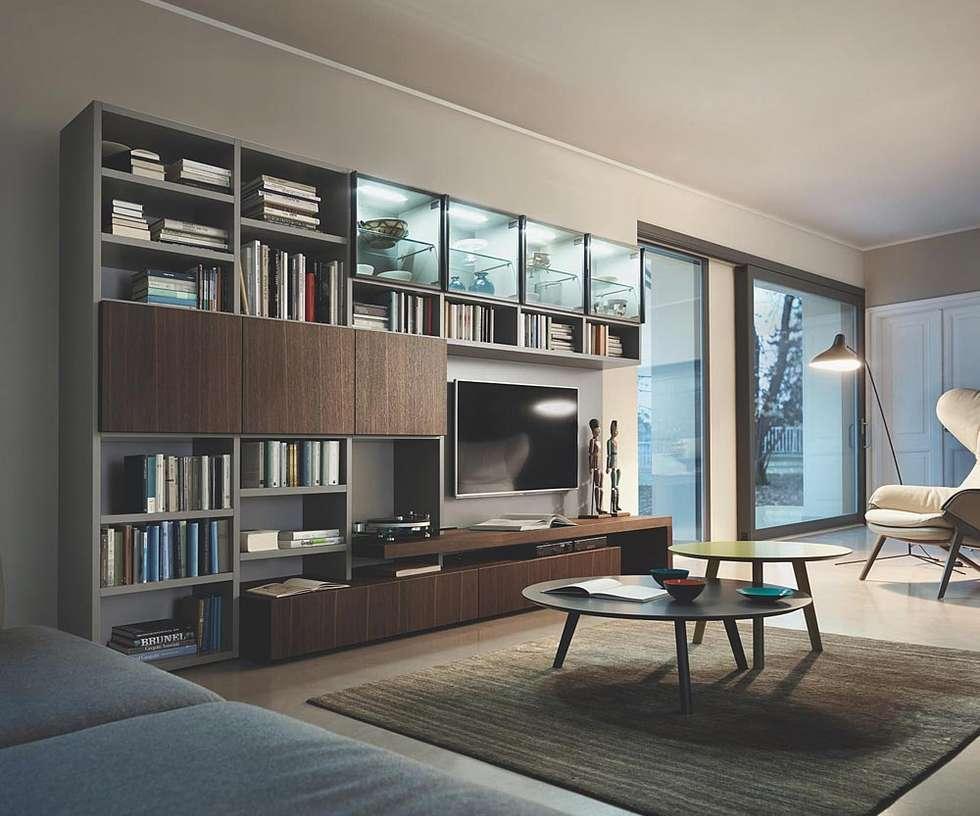 moderne wohnzimmer bilder: große wohnwand mit offenen und ...