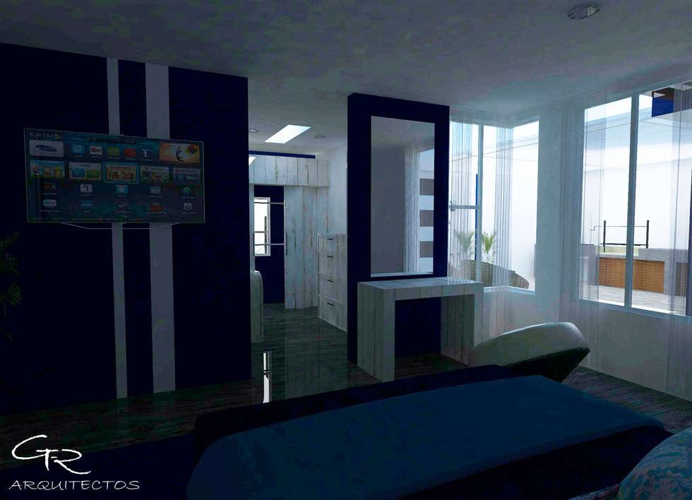 House Mundos Paralelos : Recámaras de estilo moderno por GT-R Arquitectos