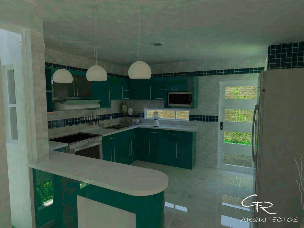 House Tempo: Cocinas de estilo moderno por GT-R Arquitectos