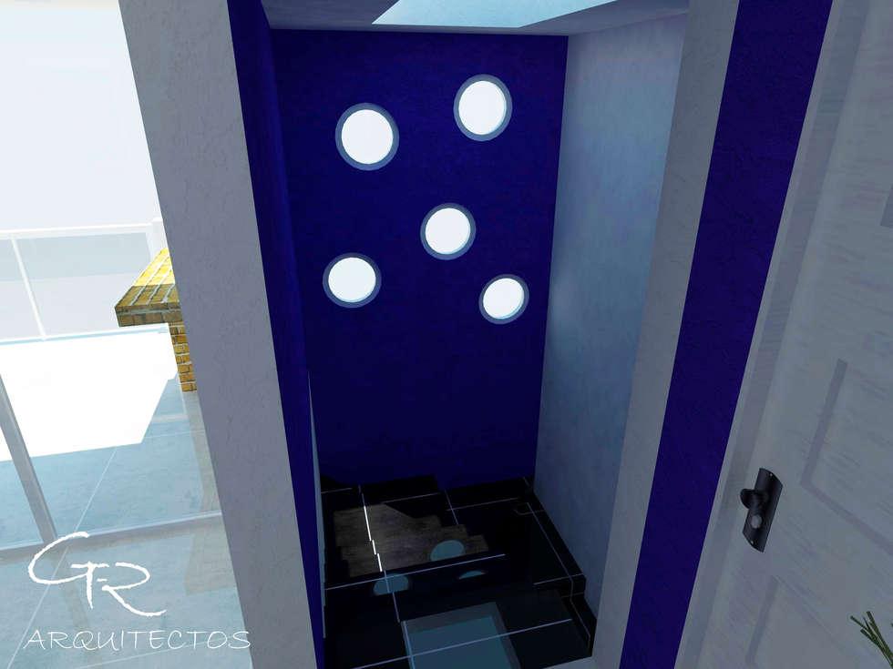 House Tempo: Pasillos y recibidores de estilo  por GT-R Arquitectos
