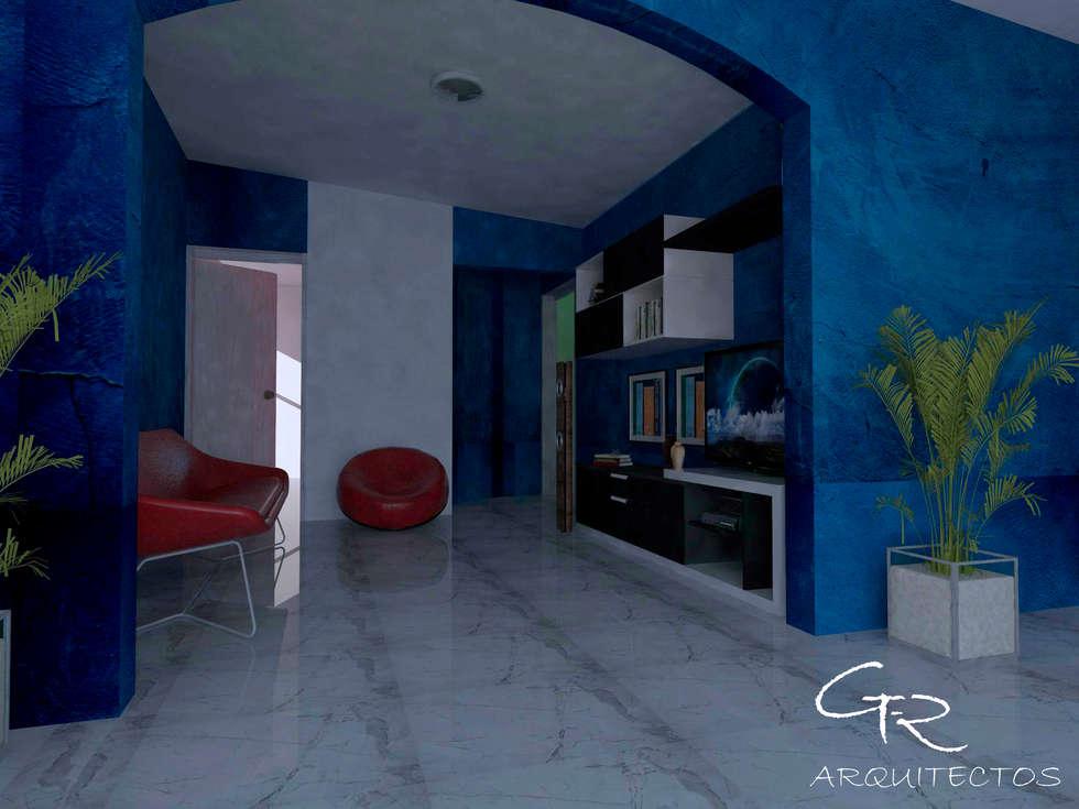 R-1: Salas de estilo moderno por GT-R Arquitectos