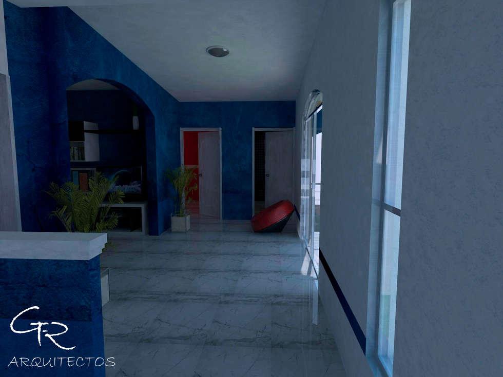 R-1: Pasillos y recibidores de estilo  por GT-R Arquitectos
