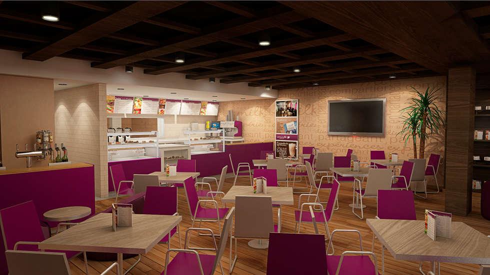 Area interna del local comercial: Restaurantes de estilo  por Arq.AngelMedina+