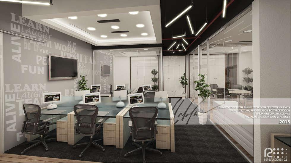 Area de Trabajo Principal: Oficinas de estilo minimalista por Arq.AngelMedina+