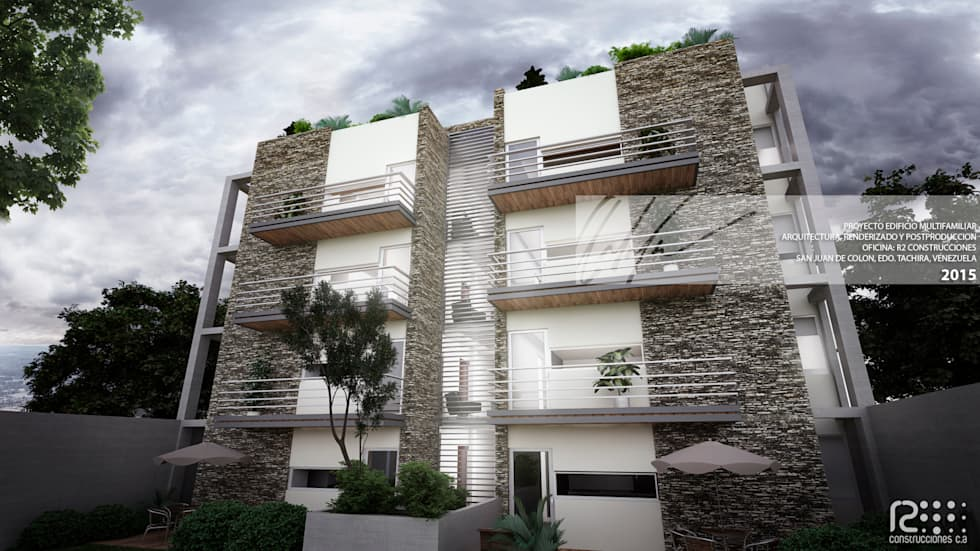 FACAHADA PORTERIOR: Casas de estilo minimalista por Arq.AngelMedina+