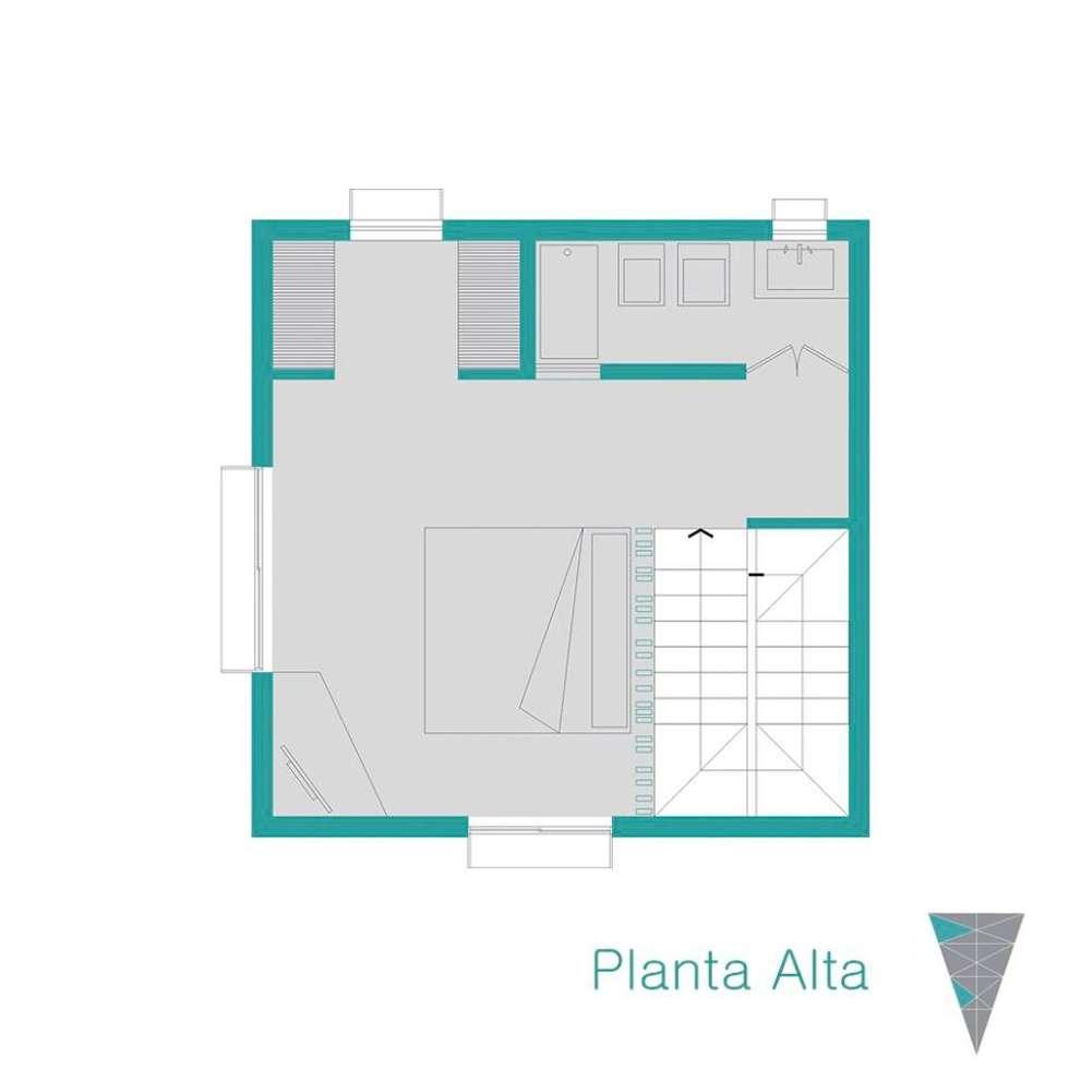 Planta alta: Casas de estilo rústico por JUNE arquitectos