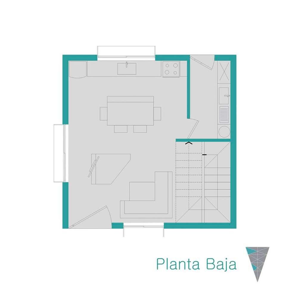 Planta baja: Casas de estilo rústico por JUNE arquitectos