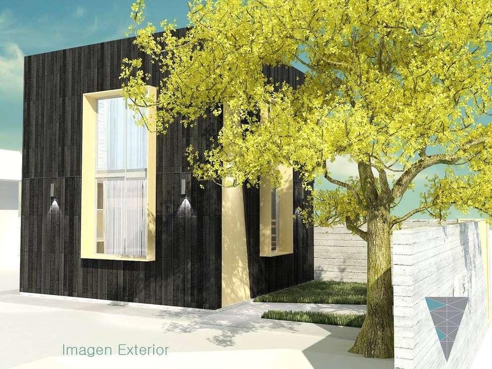 Fachadas: Casas de estilo rústico por JUNE arquitectos