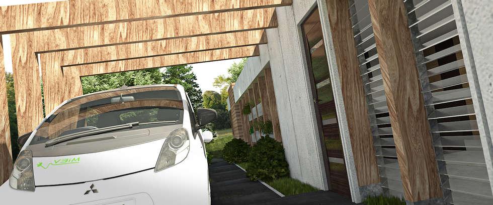 GARAGE Y ENTRADA PRINCIPAL: Garajes y galpones de estilo minimalista por Arq.AngelMedina+