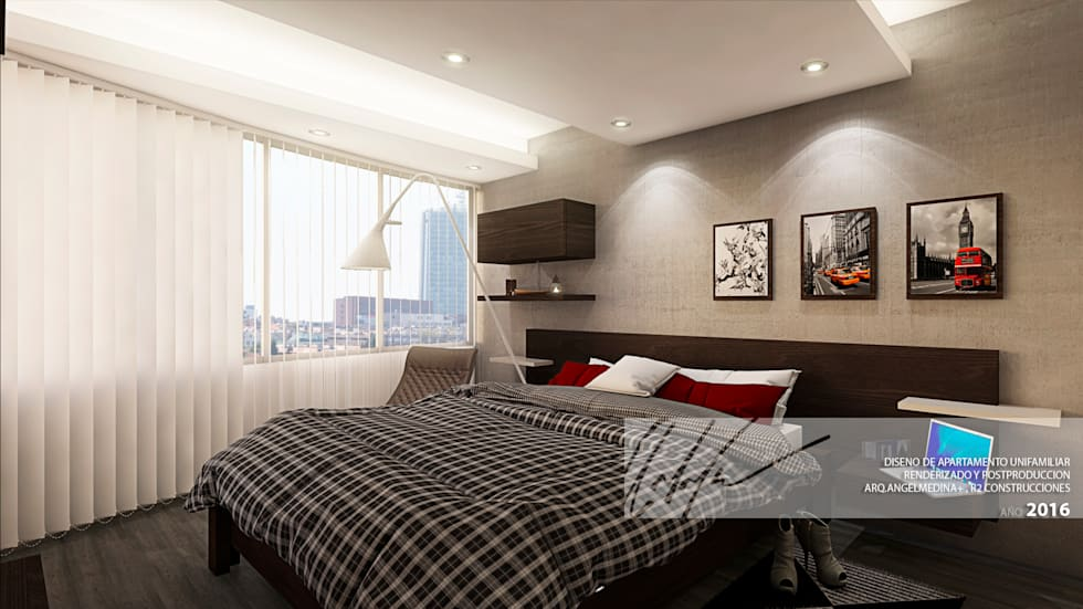 Habitacion Principal: Cuartos de estilo minimalista por Arq.AngelMedina+